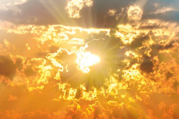 Sun beams through the clouds