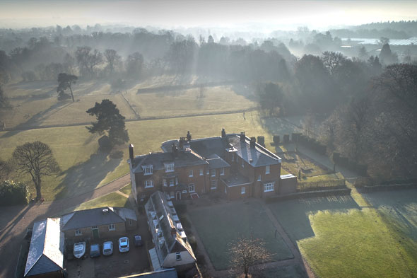 Aerial view of the back of Pilgrims Hall
