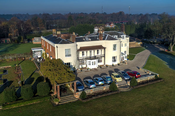 Aerial view of front of Pilgrims Hall